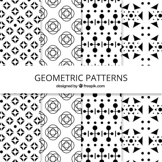 Colección en blanco y negro de patrones geométricos | Descargar ...