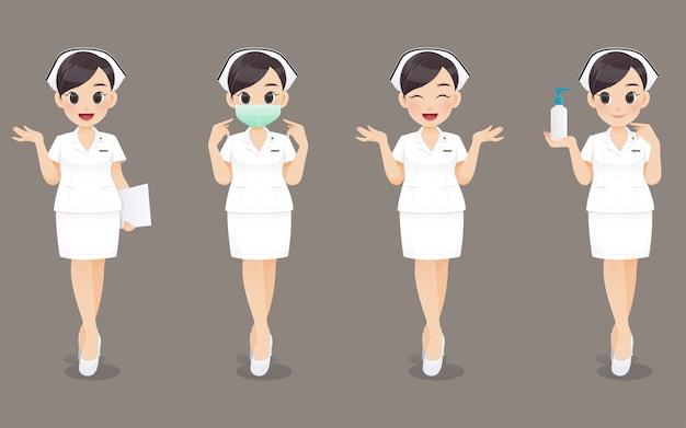 Colección de enfermera, mujer médico de dibujos animados o enfermera en uniforme blanco. diseño de personaje Vector Premium