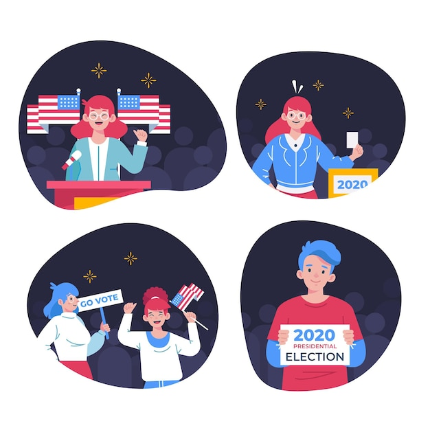 Colección de escenas de la campaña electoral de ee. uu. vector gratuito