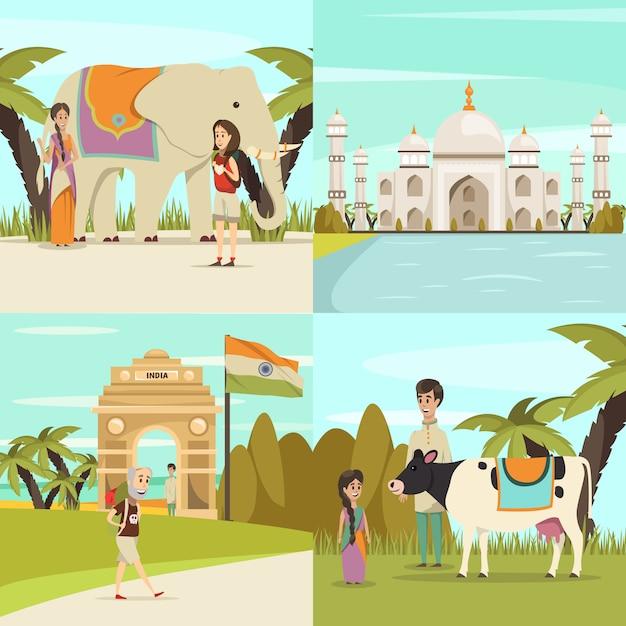 Colección de escenas de la india vector gratuito