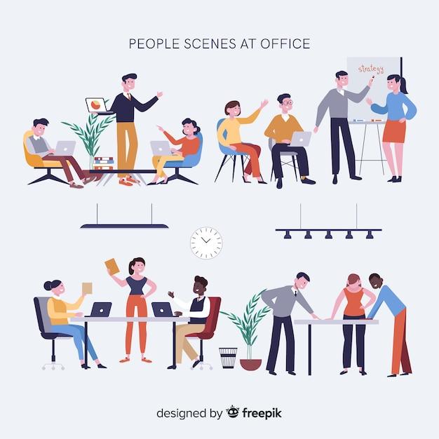 Colección escenas reuniones en la oficina vector gratuito