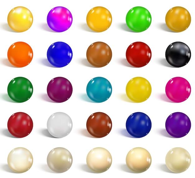 Colección de esferas de colores brillantes. Vector Premium