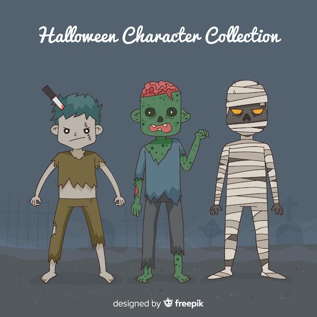Colección espeluznante de personajes de halloween dibujados a mano Vector Premium