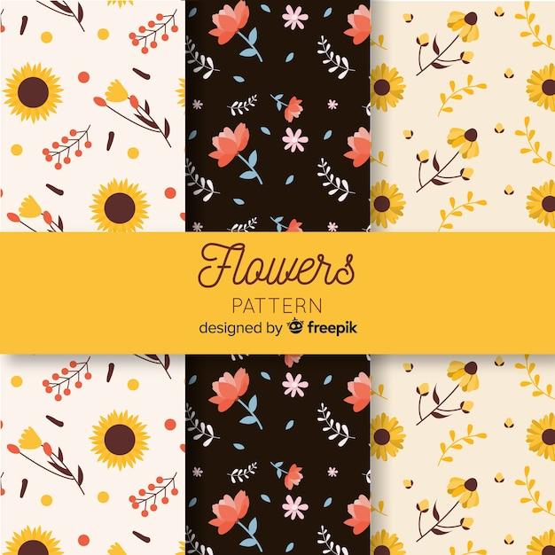 Colección de estampados de flores en diseño plano vector gratuito