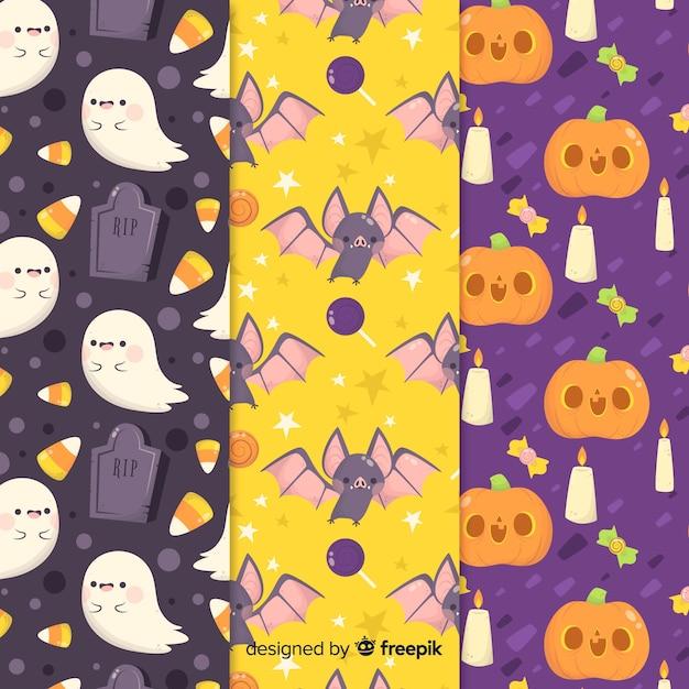 Colección de estampados de halloween en diseño plano vector gratuito