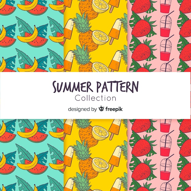 Colección de estampados de verano dibujado a mano vector gratuito