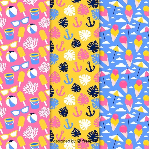 Colección de estampados de verano en diseño plano vector gratuito