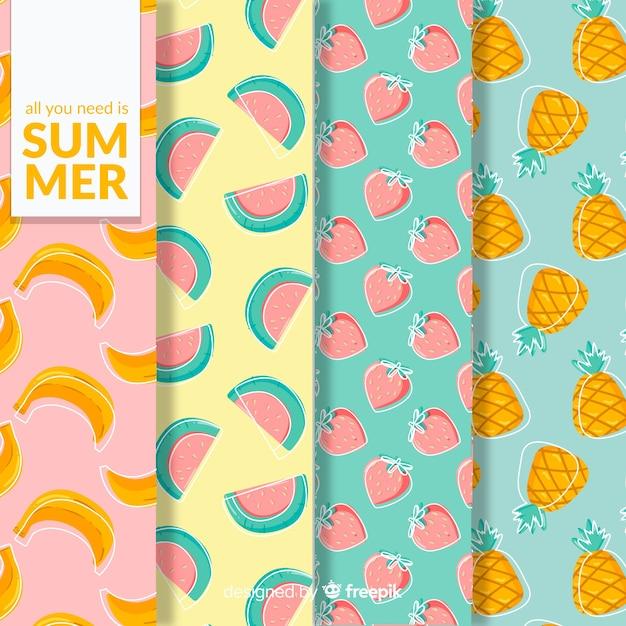 Colección de estampados de verano vector gratuito