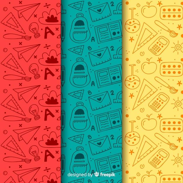 Colección de estampados de la vuelta al cole dibujado a mano vector gratuito