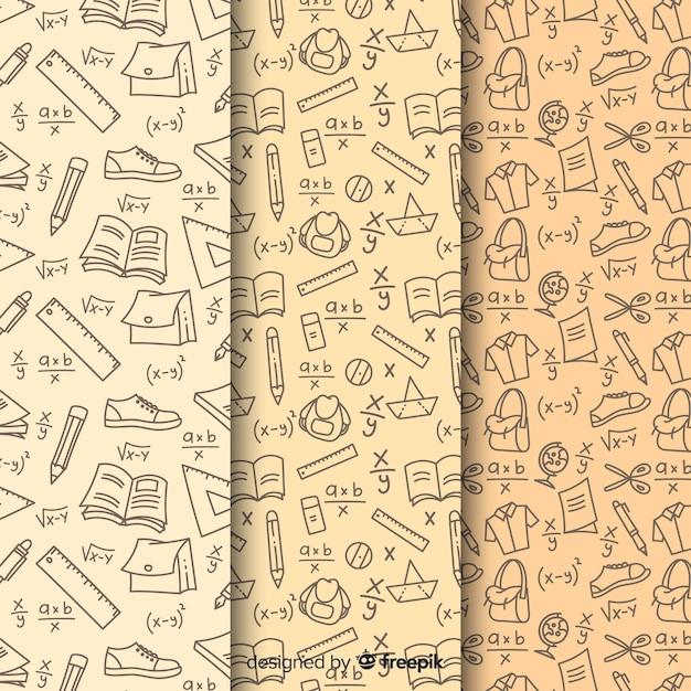 Colección de estampados de la vuelta al cole dibujados a mano vector gratuito