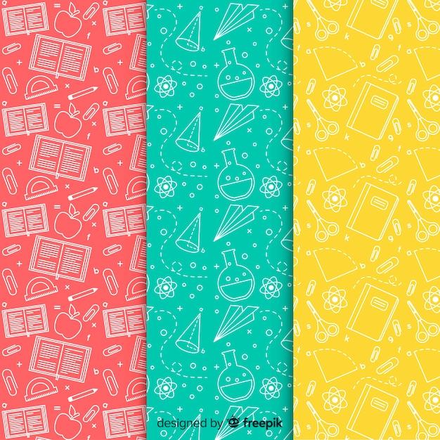 Colección de estampados de la vuelta al cole en diseño plano vector gratuito