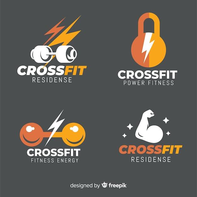 Colección de estilo crossfit logo plano. vector gratuito