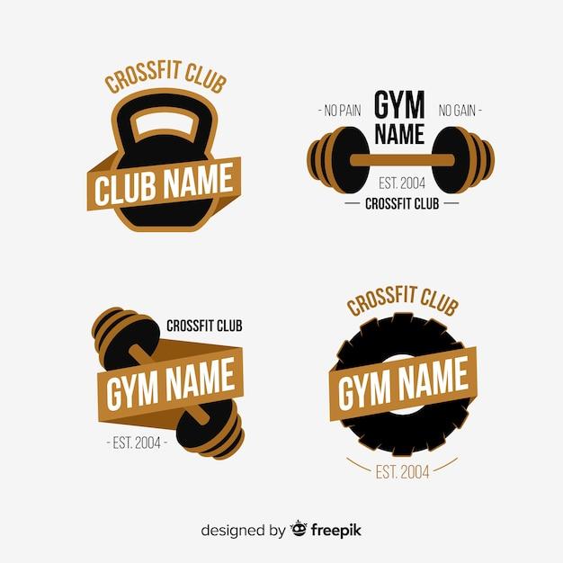 Colección de estilo crossfit logo plano. Vector Premium