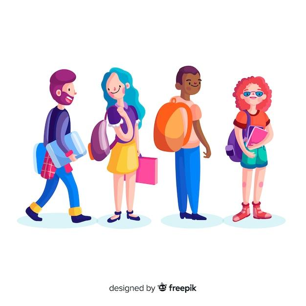 Colección de estudiantes universitarios vector gratuito