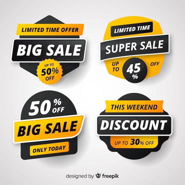 Colección de etiqueta de ventas de estilo plano. vector gratuito