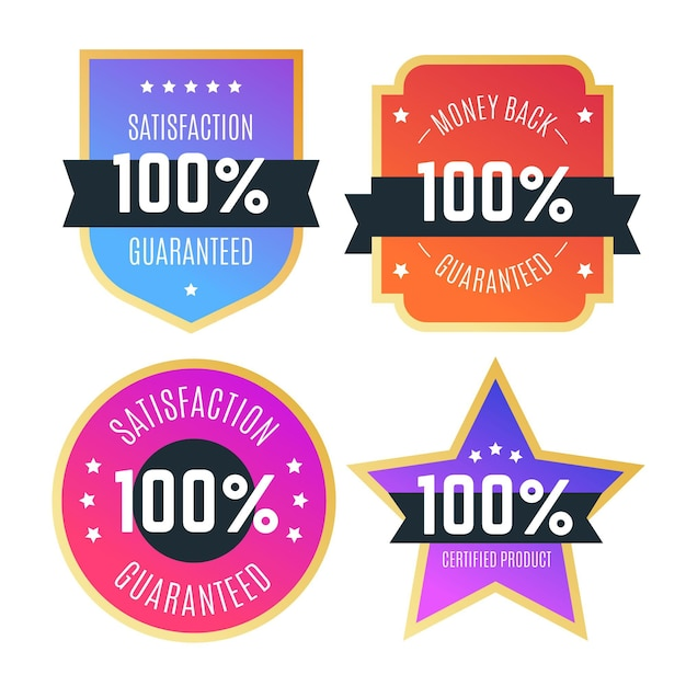 Colección de etiquetas 100% garantizada vector gratuito