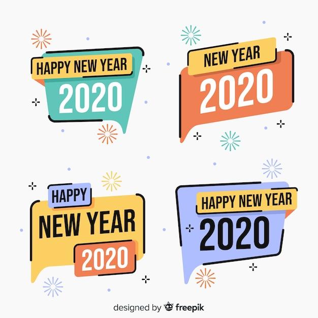Colección de etiquetas de año nuevo 2020 en diseño plano vector gratuito