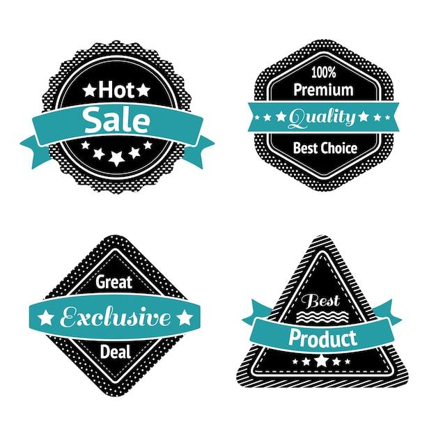 Colección de etiquetas autoadhesivas de venta o etiquetas al mejor precio, alta calidad y trato exclusivo aislado vector gratuito