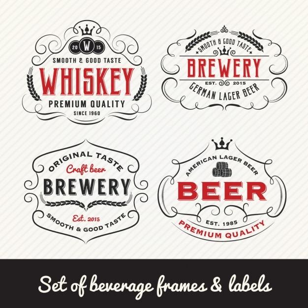 Colección de etiquetas de bebidas vector gratuito
