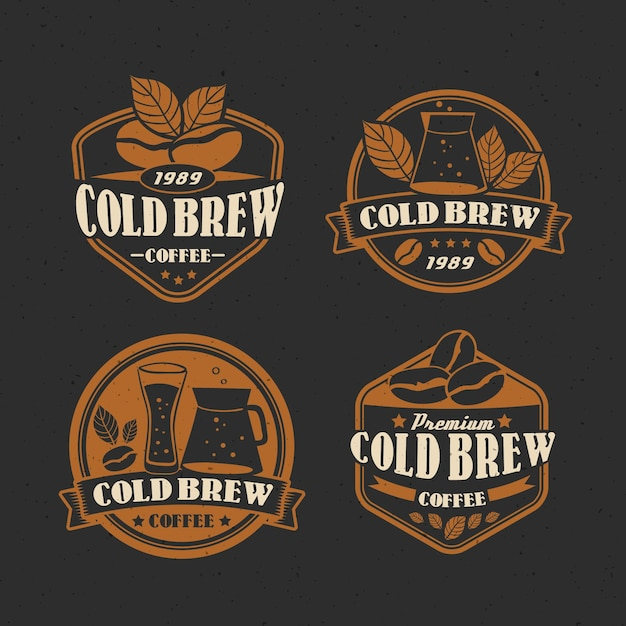 Colección de etiquetas de café frío vector gratuito