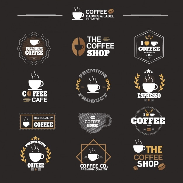 Colección de etiquetas de café vector gratuito