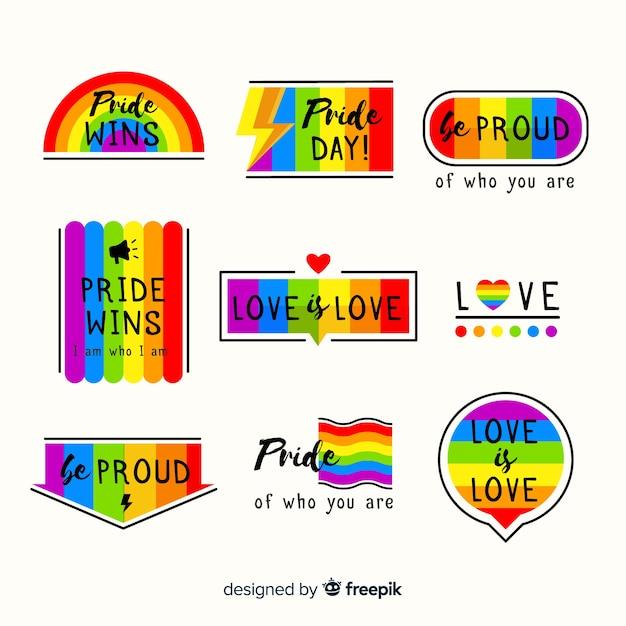Colección de etiquetas coloridas del día del orgullo lgbt vector gratuito