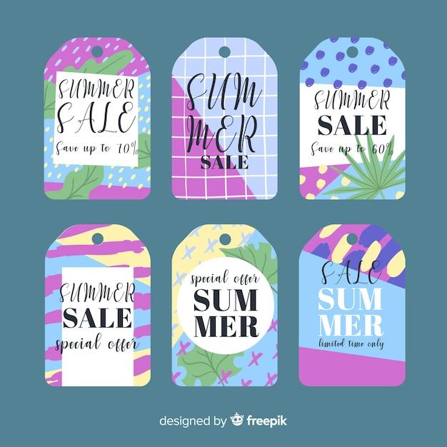 Colección de etiquetas coloridas de rebajas de verano vector gratuito