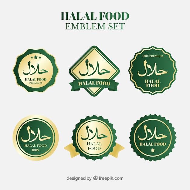Colección de etiquetas de comida halal con estilo dorado vector gratuito