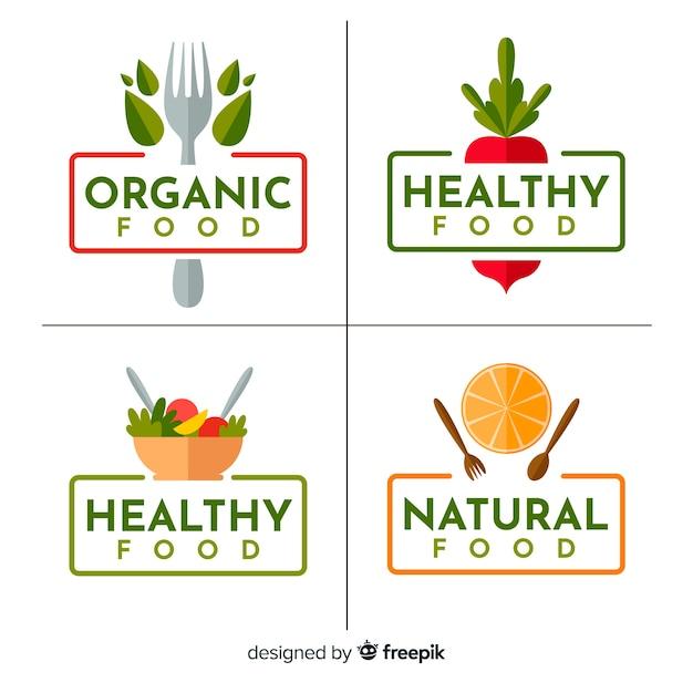 Colección etiquetas comida orgánica planas vector gratuito