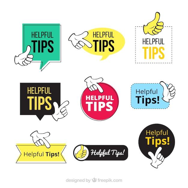 Colección de etiquetas de consejos con diseño plano vector gratuito