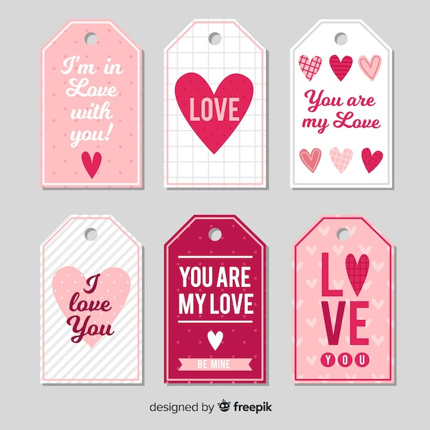 Colección de etiquetas de corazones con tema del día de san valentín vector gratuito