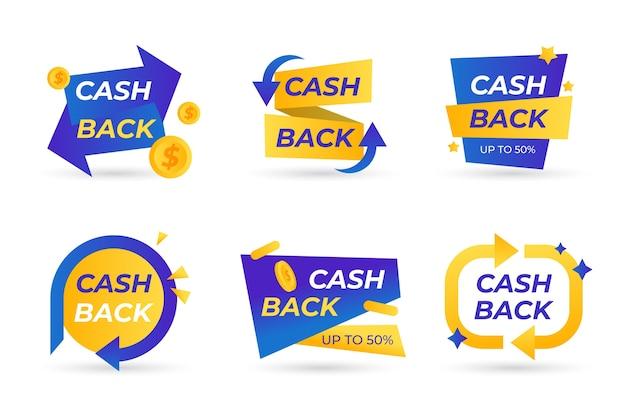 Colección de etiquetas de devolución de dinero vector gratuito