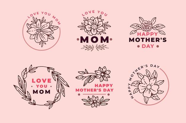 Colección de etiquetas del día de la madre dibujadas a mano vector gratuito