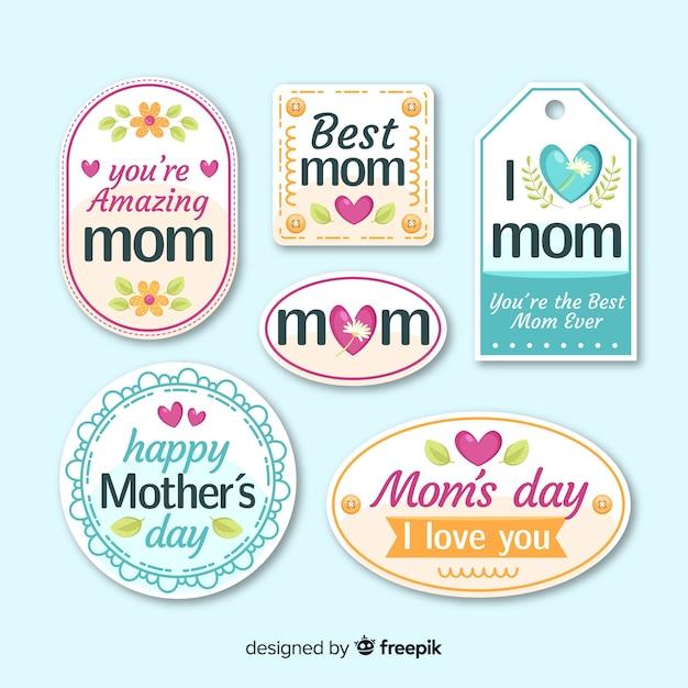 Colección de etiquetas del día de la madre en diseño plano vector gratuito