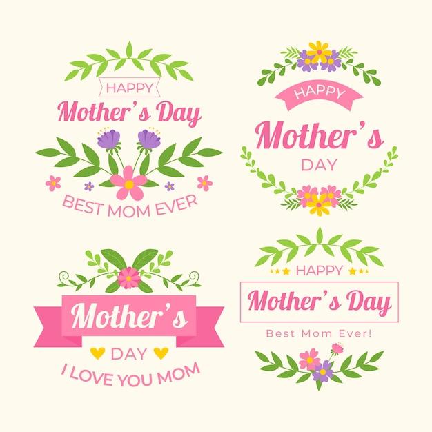 Colección de etiquetas del día de las madres vector gratuito