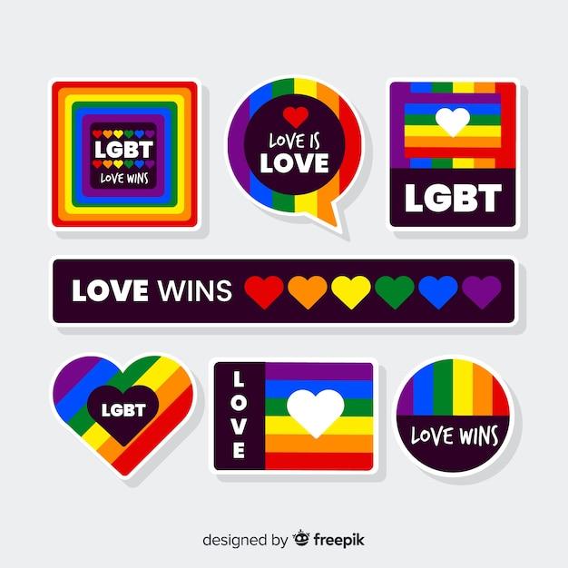 Colección de etiquetas del día del orgullo lgbt vector gratuito