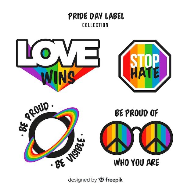 Colección de etiquetas del día del orgullo vector gratuito