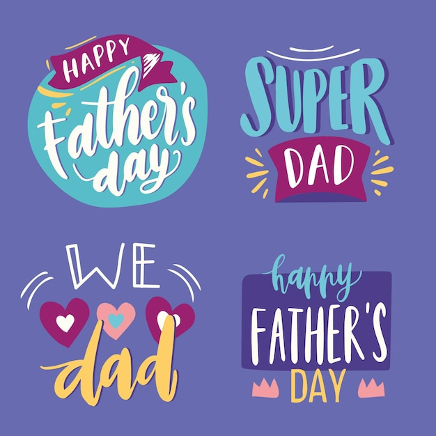 Colección de etiquetas del día del padre vector gratuito
