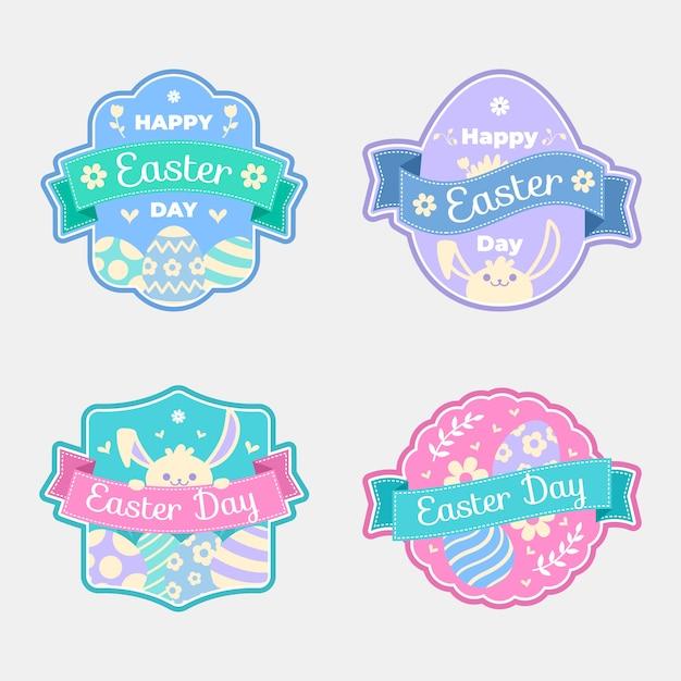 Colección de etiquetas del día de pascua en diseño plano vector gratuito