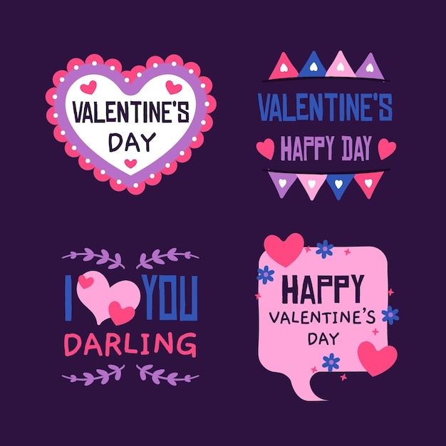 Colección de etiquetas del día de san valentín dibujadas a mano vector gratuito