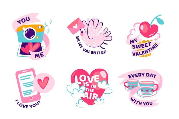 Colección de etiquetas de día de san valentín dibujado a mano vector gratuito