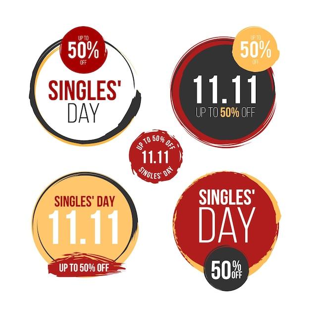 Colección de etiquetas del día del soltero vector gratuito