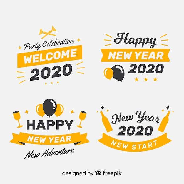 Colección de etiquetas de diseño plano año nuevo vector gratuito