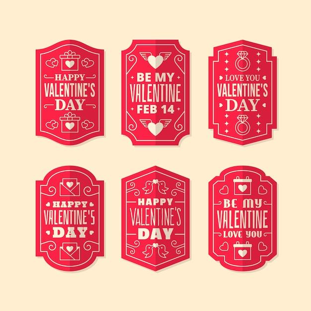Colección de etiquetas de diseño plano del día de san valentín vector gratuito
