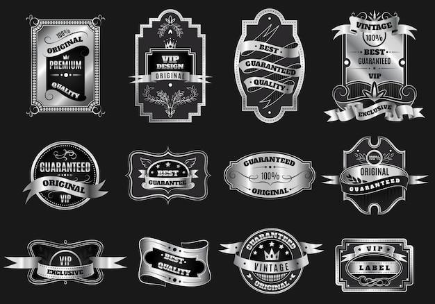 Colección de etiquetas de emblemas de plata originales retro vector gratuito