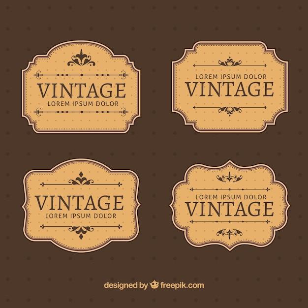 Colección de etiquetas en estilo vintage Vector Premium