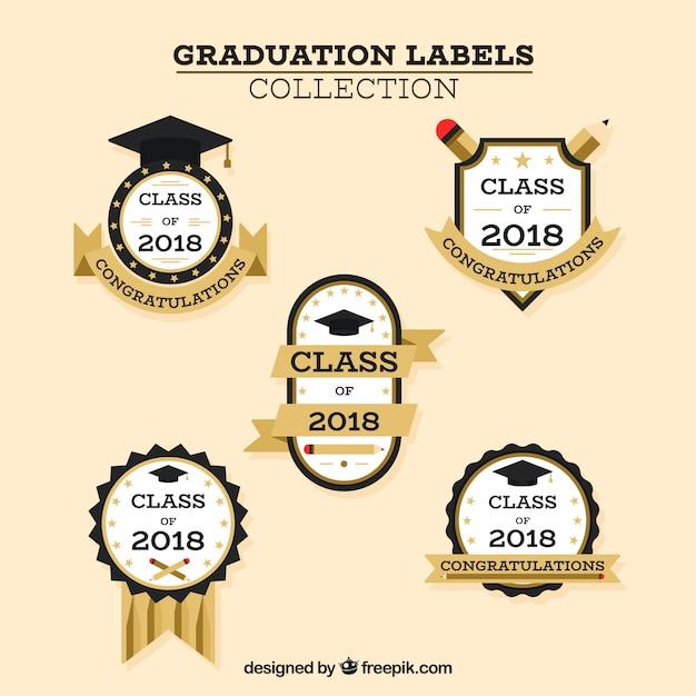 Colección de etiquetas de graduación con diseño plano vector gratuito