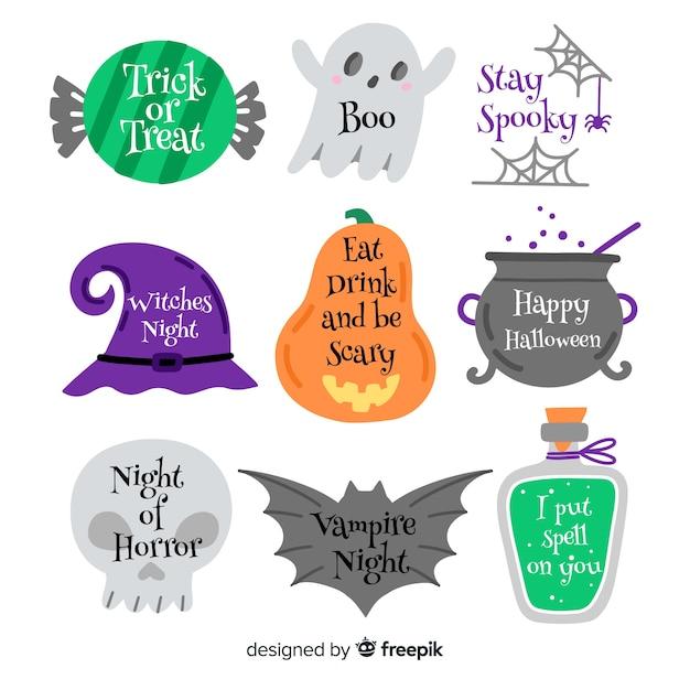 Colección de etiquetas de halloween con accesorios de brujas vector gratuito
