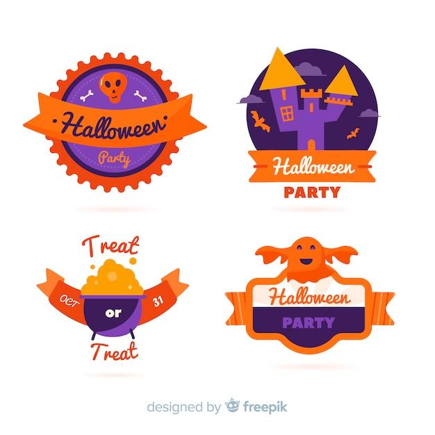 Colección de etiquetas de halloween en diseño plano vector gratuito