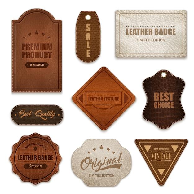 Colección de etiquetas de insignias de cuero realistas vector gratuito